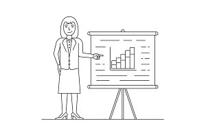 Marketer in suit pointing at presentation board with the growth chart