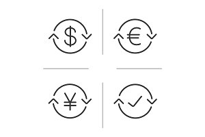 Money exchange linear icons set
