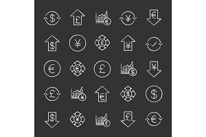 Economics chalk icons set