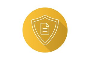 Personal document security flat linear long shadow icon