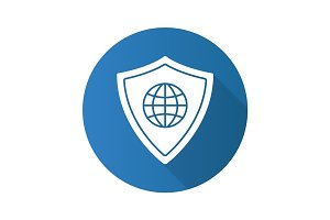 Network security flat design long shadow glyph icon
