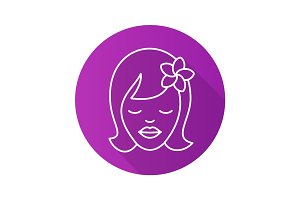 Girl with plumeria flower. Flat linear long shadow icon