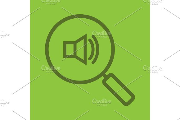 Magnifying Glass With Loudspeaker Color Linear Icon