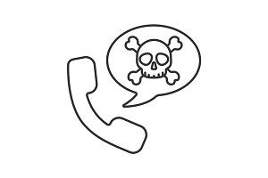 Handset with skull and crossbones inside speech bubble. Linear icon