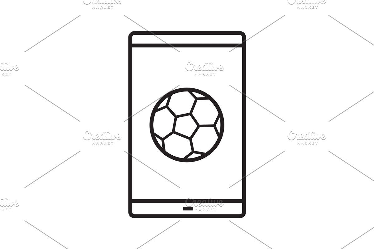 Smartphone soccer game linear icon in Icons