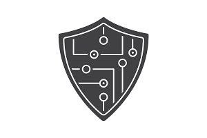 Digital shield glyph icon