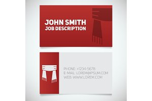 Business card print template with scarf logo