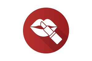 Lipstick with woman's lips. Flat design long shadow glyph icon