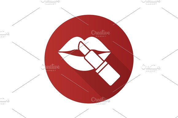 Lipstick With Woman's Lips Flat Design Long Shadow Glyph Icon