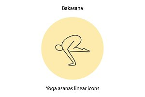 Bakasana yoga position linear icon