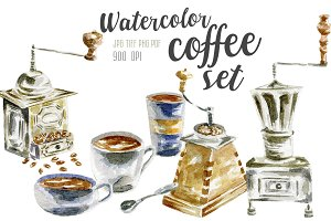 Watercolor coffee set