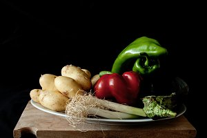 composition of vegetables on wooden