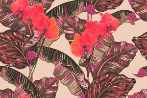 Tropical leaves,orchid pattern