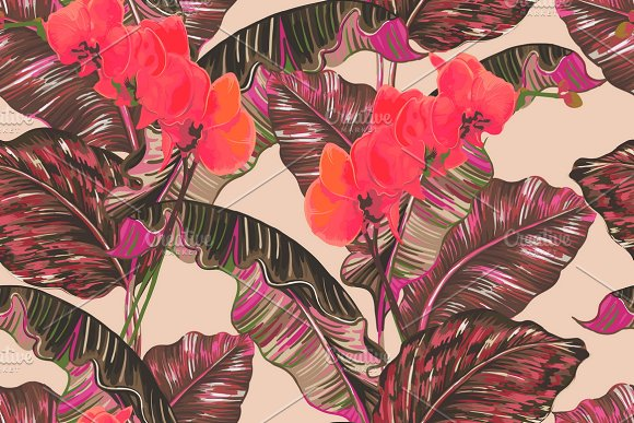 Tropical Leaves Orchid Pattern