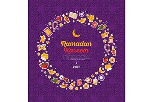 Ramadan Kareem concept round frame