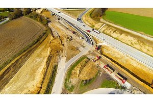 Aerial View Of Highway Construction Site