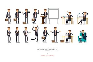 Set of businessman character poses