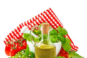 olive oil with basil and tomatoes