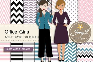Office Girls Clipart & Digital Paper