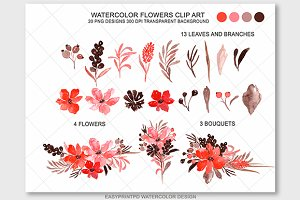 Red Watercolor Flowers Clip Art