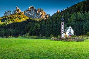 St Johann church in Dolomites, Italy