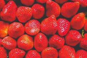 Strawberries fruits, faded vintage look