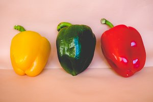 Yellow Green and Red Peppers vegetables, faded vintage look