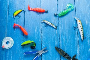 Fishing lures. Baits for spinning fishing. Multicolored bait.