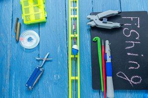 The necessary tools and accessories for the fisherman. Fishing. Leisure.