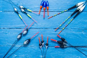 Composition of fishing floats. Composition in the form of a star. Copyspace.