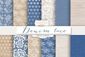 Denim/burlap lace digital paper