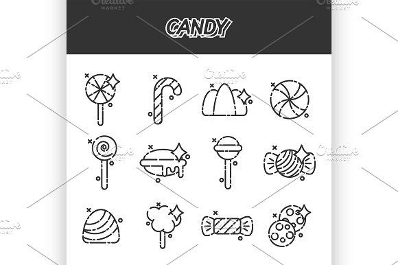 Candy Cartoon Concept Icons