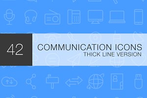 Communication thick line icon set