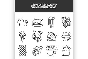 Chocolate cartoon concept icons