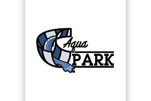 Color vintage aquapark emblem