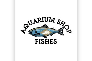 Color vintage aquarium shop emblem