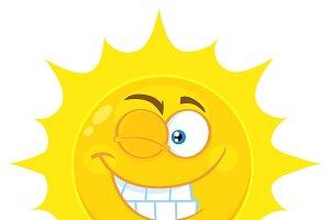 Winking Yellow Sun Character