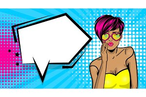 Cool woman pop art comic text speech bubble