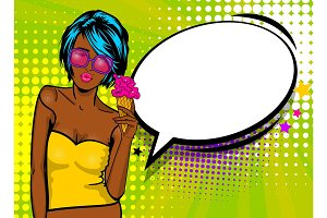 Cool woman pop art comic text speech baloon