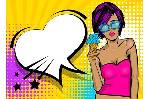 Cool woman pop art comic text speech heart box