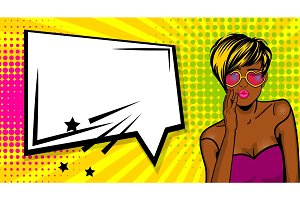 Cool woman pop art comic text speech box