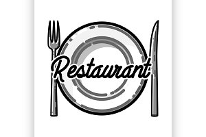 Color vintage restaurant emblem
