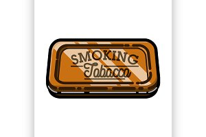 Color vintage tobacco shop emblem