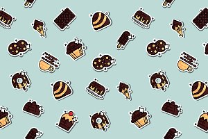 Chocolate concept icons pattern
