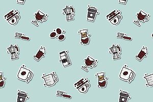 Coffee concept icons pattern