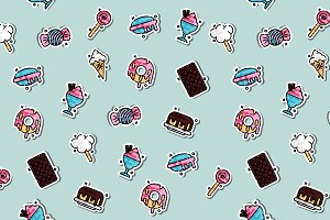 Confectionary concept icons pattern