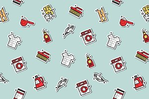 Laundry concept icons pattern