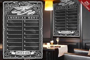 Graphic Blackboard for American Menu