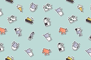Milk production Icons pattern