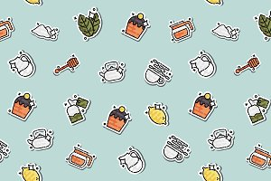 Tea concept icons pattern